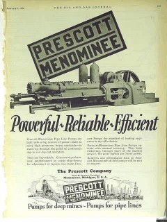 Prescott Company 1928 Vintage Ad Oil Pumps Menominee Powerful Reliable