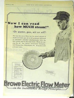 Brown Instrument Company 1928 Vintage Ad Oil Gas Read Much Steam Water