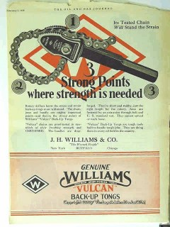 J H Williams Company 1928 Vintage Ad Oil Field Back-up Tongs Vulcan