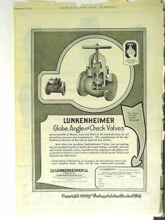 Lunkenheimer Company 1928 Vintage Ad Oil Well Globe Angle Check Valves