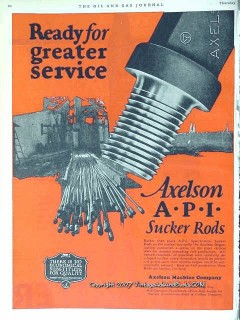Axelson Machine Company 1928 Vintage Ad Oil Field Drilling Sucker Rod