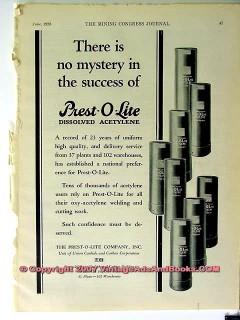 prest-o-lite company 1928 mine dissolved acetylene welding vintage ad