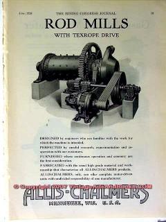 allis-chalmers 1928 mining rod mills texrope vintage ad
