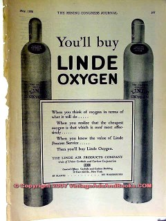 linde air products co 1928 oxygen coal mining equipment vintage ad