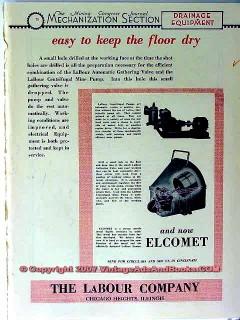 labour company 1928 keep floor dry elcomet pump mining vintage ad