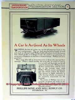 phillips mine mill supply company 1928 mining car wheel vintage ad
