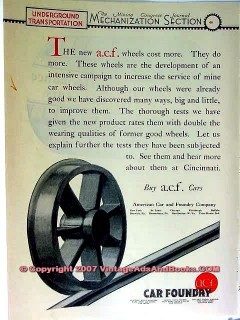 american car foundry 1928 acf mining vintage ad
