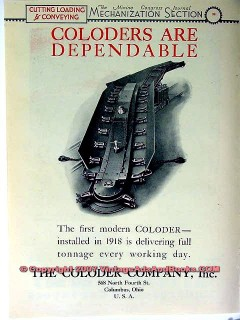 coloder company 1928 coal mining equipment vintage ad