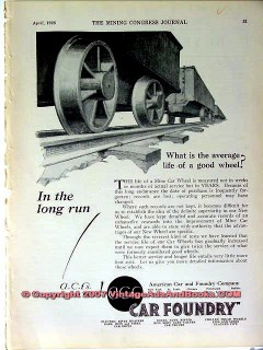 american car foundry 1928 coal mine mining wheels vintage ad