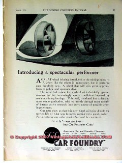american car foundry 1928 spectacular performer mine wheel vintage ad