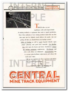 central frog and switch company 1928 mine track equipment vintage ad
