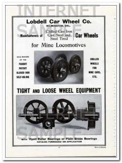 lobdell car wheel company 1910 for coal mine locomotives vintage ad
