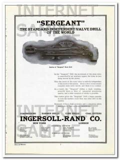 ingersoll-rand company 1910 sergeant valve mining drill vintage ad