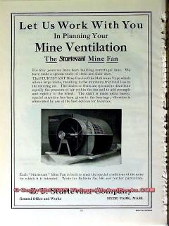 b f sturtevant company 1910 planning mine ventilation fan vintage ad