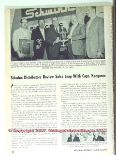 schwinn bicycle 1963 chicago cycle capt kangaroo sales vintage article