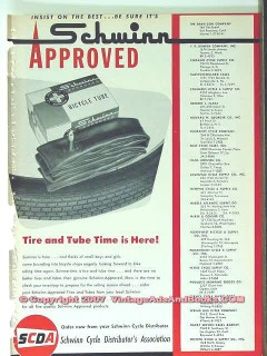 schwinn bicycle 1963 cycle distributors assoc tire tube vintage ad