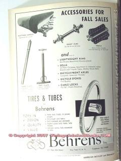 behrens inc 1963 bike tires spokes hubs pumps tubes bicycle vintage ad