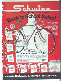 schwinn bicycle 1963 varsity sports 10 speed bike vintage ad