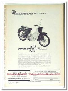 bridgestone tire co 1963 rockford scooter 50 motorcycle vintage ad