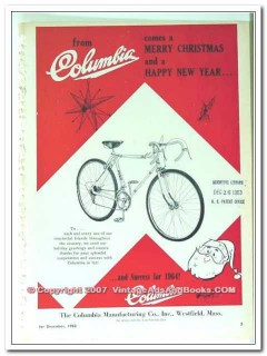 columbia manufacturing company 1963 bicycle merry christmas vintage ad