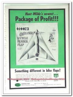 hunt-wilde corp 1963 newest package profit bicycle fender vintage ad