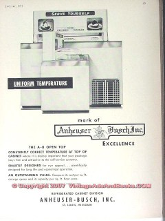 Anheuser-Busch Inc 1951 Vintage Ad Ice Cream Cabinet Serve Yourself