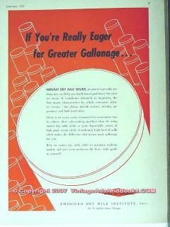 American Dry Milk Institute Inc 1951 Vintage Ad Ice Cream Nonfat Solid