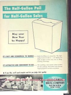 Bloomer Bros Company 1951 Vintage Ad Ice Cream Pail Half-Gallon Sales