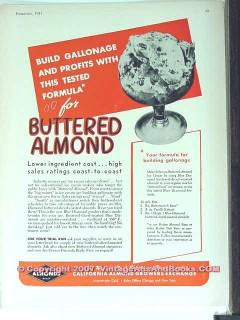 Blue Diamond Almonds 1951 Vintage Ad Ice Cream Buttered Flavor Formula