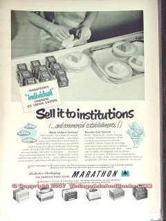 Marathon Corp 1951 Vintage Ad Ice Cream Cartons Individual Packaging