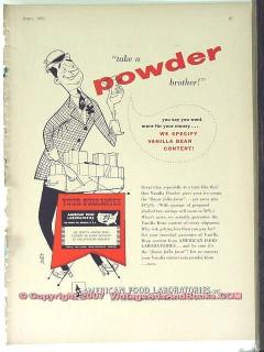 American Food Laboratories 1951 Vintage Ad Ice Cream Vanilla Powder