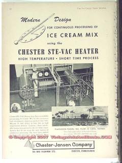 Chester-Jensen Company 1951 Vintage Ad Ice Cream Mix Ste-Vac Heater