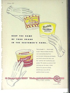 Lily-Tulip Cup Corp 1951 Vintage Ad Ice Cream Container Brand Name