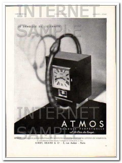 atmos 1931 jaeger lecoultre french eternity perpetual clock vintage ad