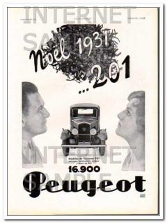 peugeot 1931 model 201 christmas noel automobile car vintage ad