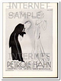 petrole hahn 1938 the kissing hand french woman hair care vintage ad