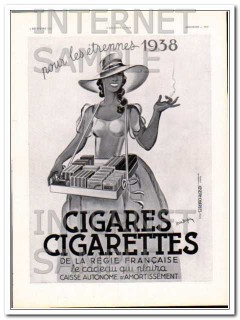 cigares cigarettes 1937 by leon dupin french vintage ad