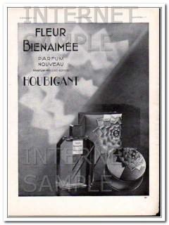 houbigant 1930 fleur bienaimee french powder lotion perfume vintage ad