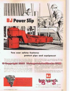 Byron Jackson Company 1955 Vintage Ad Oil Field Drilling BJ Power Slip