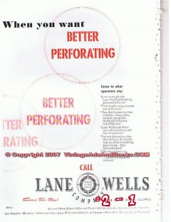 Lane-Wells Company 1955 Vintage Ad Oil Field Better Perforating