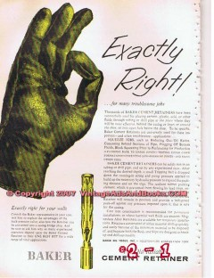 Baker Oil Tools Inc 1955 Vintage Ad Cement Retainer Pipe Line