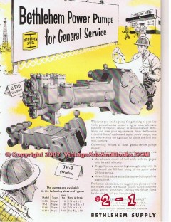 Bethlehem Supply Company 1955 Vintage Ad Oil Field Drilling Power Pump