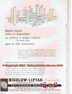 Bigelow-Liptak Corp 1955 Vintage Ad Gas Oil Suspended Walls Arches