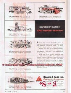 Brown Root Inc 1955 Vintage Ad Gas Oil Engineering Diversification
