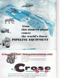 M J Crose Mfg Company 1955 Vintage Ad Oil Pipeline Equipment Finest