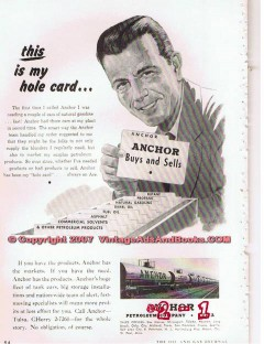 Anchor Petroleum Company 1955 Vintage Ad Hole Card Storage Tank Cars