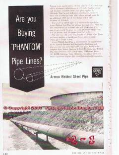 Armco Welded Steel Pipe 1955 Vintage Ad Oil Natural Gas Pipeline