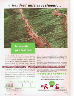 Tretolite Company 1955 Vintage Ad Oil Pipe Lines Investment Protection