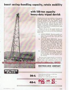 Bucyrus-Erie Company 1955 Vintage Ad Oil Field Drilling Tripod Derrick
