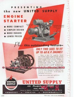 United Supply Mfg Company 1955 Vintage Ad Oil Petroleum Engine Starter